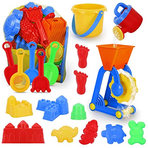 GUAGUAFUN Beach Toys, 19 Pieces Sand Toys Set, Sandbox Toys with Reusable Mesh Bag, Includes Bucket, Sifter, Rakes, Shovel, Watering Can, Animal and Castle Sand Molds for Kids 3-10
