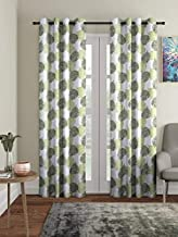 Cortina Polyester Fabric Eyelet Door Curtain, 7 Feet Fancy 2 pcs Printed Curtains for Your Living Room, Bedroom and More – Green (210 X 115 cm)