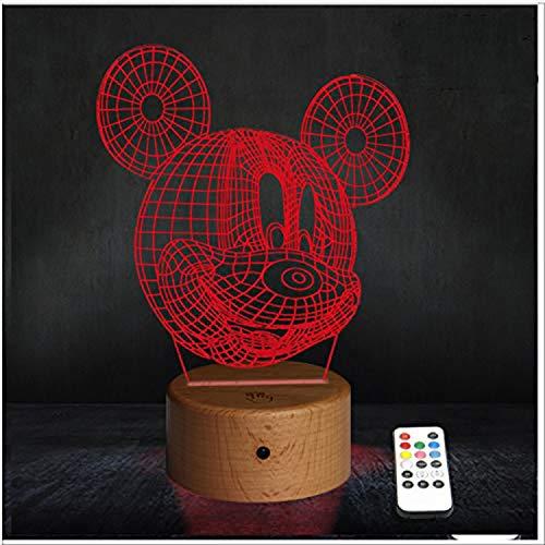 RecontraMago Lamparas de Mesa de Noche - Madera 2020 Modelo Led con Tu Forma Favorita - Lamparas Infantiles de Decoración - Regalo Original para Niños Tactil Modernas Salon (Mickey)
