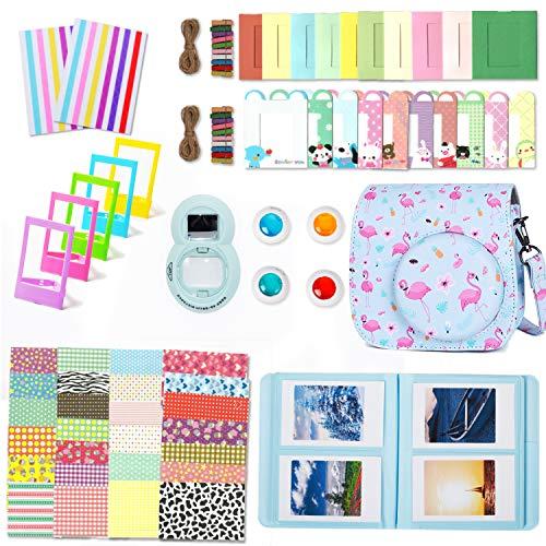 Leebotree Accessori Compatibile con Instax Mini 9 or Mini 8/8+ Fotocamera istantanea, Pacchetto Camera Intero(Caso/Album/selfie Lente/Filtri/Cornici/Adesivi) (Blu Flamingo)
