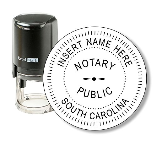Round Notary Stamp for State of South Carolina - Self Inking Stamp - Features The ExcelMark Double Sided Ink Pad for Longer Product Life