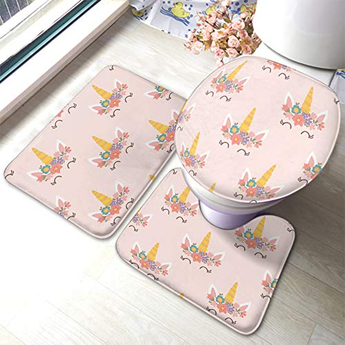EKOBLA Funny Unicorn Bathroom Mat Pink Flowers Horse Animal Funny Leaves Yellow Horn Smile Eyes Durable Bathroom Rug Set 3 Pieces Anti-Skid Pads Toilet Seat Lid Cover Mat Polyester