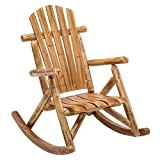 DJL Antique Wood Outdoor Rocking Log Chair Wooden Porch Rustic Log Rocker