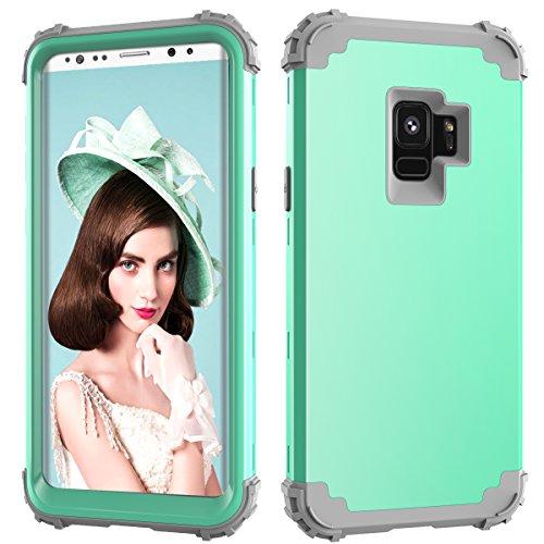 Samsung Galaxy S9Fall, Daker Drei Layer stoßfest Hybrid High Impact Hard Kunststoff + Weich Silikon Gummi Armor Full Body Schutz Best Fällen für Galaxy S92018Release, Mint Grey