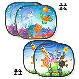2 Sets parasoles Coche Infantil Ventana 44x36cm Lateral Accesorios parabrisa 4 Pantallas protección...
