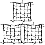 traderplus 3-Pack 15' Elasticated Bungee Luggage Cargo Net for Motorcycle ATV with Iron Hooks Stretch to 30'x30'