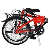 """Dahon Vitesse i7 Folding Bike, Lightweight Aluminum Frame; 7-Speed Shimano Gears; 20"""" Foldable Bicycle for Adults, Red"""