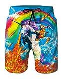 RAISEVERN Youth Boys 3D Ninja Cat Riding Unicorn Beach Maleta Verano Casual Rainbow Print Natación Vacaciones Surf Shorts con cordón M.