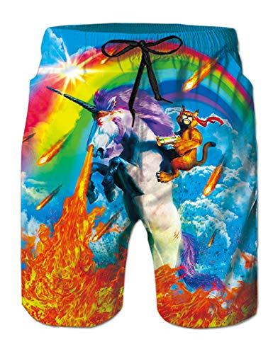 RAISEVERN Bañador cómodo y Transpirable para Hombres Shorts de Playa de Unicornio con Estampado de Secado rápido Pantalones Cortos de Playa con Unicornio con Forro de Malla Cargo Trajes de baño XL