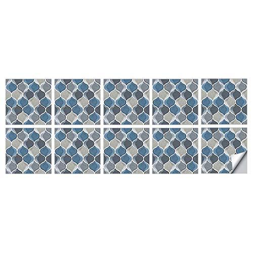 OSELLINE Pegatinas para Azulejos, 10 Piezas Autoadhesivas para Azulejos DIY Backsplash Piso Etiqueta de la Pared Decoración para el hogar Azul