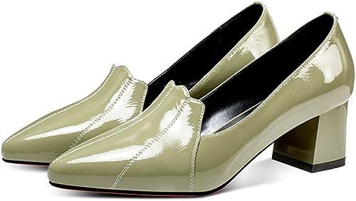 YUBIN Printemps Jeunes Chaussures en en en Cuir De Style Nouveau avec Talon Talon Chaussures à Talons Sauvages Chaussures en Cuir Verni (Couleur   vert, Taille   35) 867