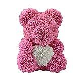 Rlorie Rosa Oso 40cm - Artificial Oso Rosa Amor Encantador En Forma De Corazón - Simulación Flor Osito, Para Una Boda, El Día De San Valentín, Un Cumpleaños, Una Fiesta, Cumpleaños (Color Del refined