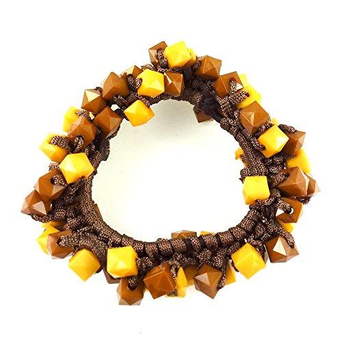 rougecaramel - Accessoires cheveux - Elastique cheveux ou bracelet perles - marron/jaune
