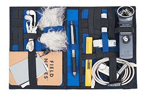 Strapbook Elastic Grid Organizer Book for Electronics Accessories Travel Cables Chargers and More (Blue)