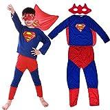 Miotlsy Disguise Superhéroe Superman Classic Disfraces Superman Venda + pantalón + Saco - Traje Conjunto para Adultos Carnaval y Cosplay (Talla 100-150cm)