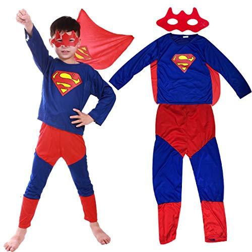 Superhero Superman Classic Mario Fancy Dress Costume Superman Benda + Pantaloni + Cappotto- Costume per Bambino - Perfetto per Carnevale e Cosplay(Large 100-150cm)