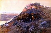 18 世界の名画 - ¥4K-150k 手書き-キャンバスの油絵 - アカデミックな画家直筆 - buffalo herd at bay 1901 Charles Marion Russell Indiana カウボーイ ANW1 - 絵画 洋画 複製画 -サイズ01
