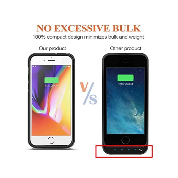 Battery Case For Iphone 55sse 4000mah Portable Protective Charging Case Compatible With Iphone 55sse 40 Inch Rechargeable Extended Battery Charger Case Black