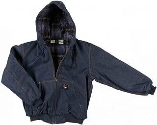 Mens Rasco Flame Resistant Denim Hooded Jacket S Blue