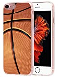 Case for Phone 6S Basketball & Cover for 6S & MUQR Flexible Gel Silicone Slim Drop Proof Protection Cover Compatible with iPhone 6/6S & + Basketball Sport Design Pattern