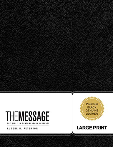 The Message Large Print (Genuine Leather, Black): The Bible in Contemporary Language (First Book Challenge)