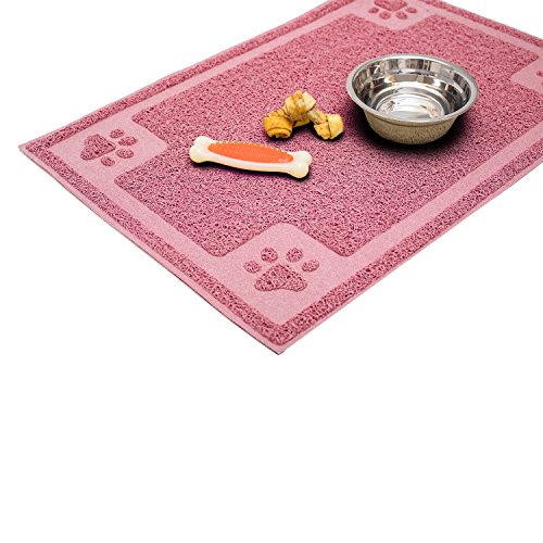 Cavalier Pets, Medium Dog Bowl Mat for Cat and Dog Bowls, Silicone Non-Slip Absorbent Waterproof Dog Food Mat, Easy to Clean, Unique Paw Design, 24 by 16 Inch, Pink