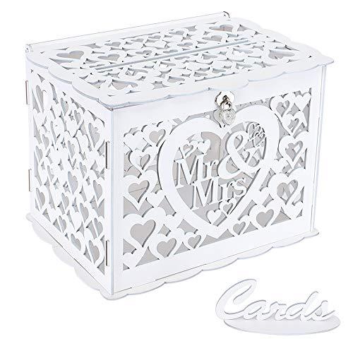 Benjia - Cassetta portadocumenti in legno rustico, grande, con serratura e fessura, per ricevimenti, anniversari, feste di compleanno, feste (Mr & Mrs) bianco