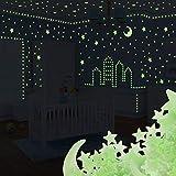 Yosemy Adesivi da Parete Fluorescenti 201 Pezzi Luna Stelle Fluorescenti Decorazione Adesivo Stickers Murali Camera da Letto Cameretta Soffitto Regalo per Bambini