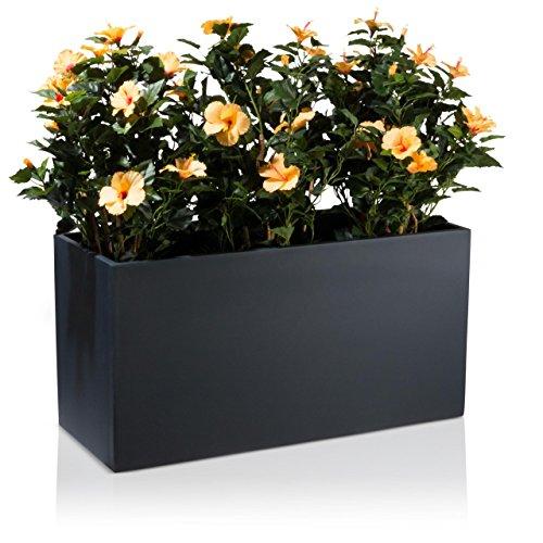 Pflanztrog Blumentrog VISIO 50 PVC m. Isolierung Blumenkübel - Farbe: anthrazit matt - großer wetter- und winterfester Pflanztopf für Innen & Außen, robuster & UV-beständiger Pflanzkübel