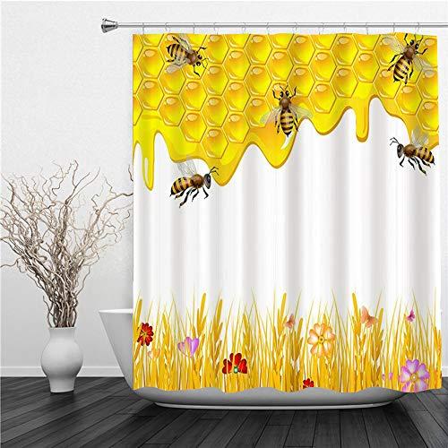 AIMILUX Duschvorhang 180x180cm,Bee Geometrical Honeycomb Bienenstock & Kamille Blumen Spring Floral Themed Honey Print,Duschvorhang Wasserabweisend-Duschvorhangringen 12 Shower Curtain mit