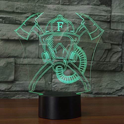 Jinson well 3D feuerwehr maske Lampe optische Illusion Nachtlicht, 7 Farbwechsel Touch Switch Tisch Schreibtisch Dekoration Lampen perfekte mit Acryl Flat ABS Base USB Spielzeug