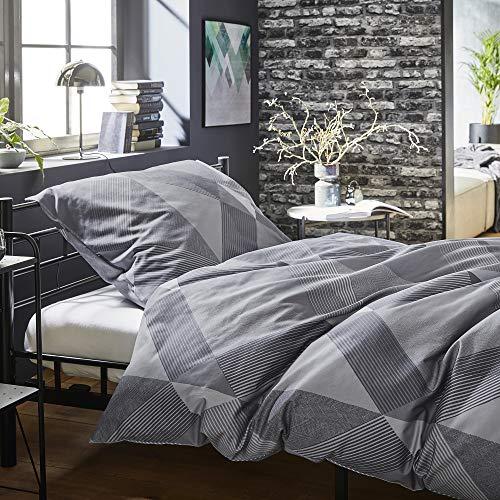 BUGATTI Mako Satinbettwäsche 155x220 cm - Makosatinbettwäsche grau 100% Baumwolle, 2 TLG. Set aus Deckenbezug 155x220cm und Kissenhülle 80x80cm, praktischer Reißverschluss