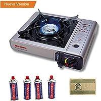 Envio 24h Butsir Cocina Portatil Para Cartucho válvula B250 + 4 Cartucho + Parche