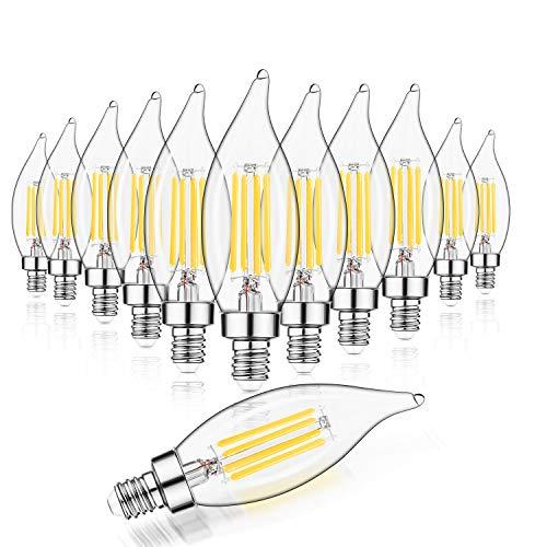 E12 LED Candelabra Bulb 60W Equivalent Dimmable LED Chandelier Light Bulbs 4.5W 2700K Soft White 500LM B10 Flame Tip Vintage LED Filament Candle Bulb with Decorative Candelabra Base, 12 Packs