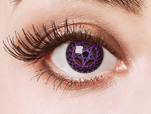 aricona Kontaktlinsen - Schwarze Kontaktlinsen mit lila Pentagramm - Farbige Kontaktlinsen ohne Stärke für Karneval, Cosplay, Manga, Motto-Partys, 2 Stück
