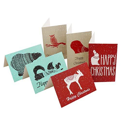 Tarjeta de Navidad con Sobres (Pack de 48) Tarjetas de Felicitación 15,3 x 10,2 cm Diseños Variados Invierno, Animal Felicitaciones de Navidad Happy Christmas Tarjeta Navidad para Familiares y Amigos