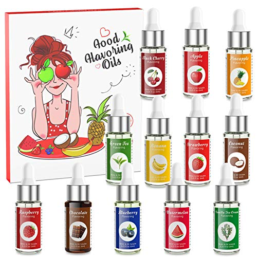 Flavour Drops Abree Tropfenn Geschmackstropfen ohne Kalorien Vanille Schokolade Erdbeer Wassermelone Banane Blaubeere Himbeere Tasty Drops Set zum Kochen, Backen und Mixen 6ml pro Flasche
