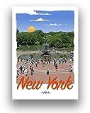 Central Park New York Art Deco Reise-Poster, Retro-Stil