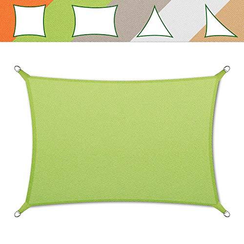 casa pura® Sonnensegel wasserabweisend imprägniert | Testnote 1.4 | Rechteck | UV Schutz Größen (grün, 3x5m)