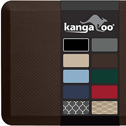 Kangaroo 3/4 Inch Thick Superior Cushion, Stain Resistant Kitchen Rug and Anti Fatigue Cushioned Foam Comfort Floor Padding, Office Stand Up Desk Mats, Washable Standing Decor Mat, 39x20, Brown