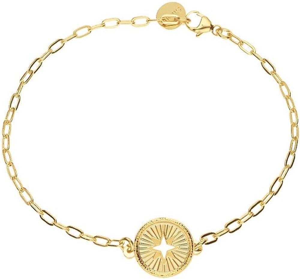 Stroili,bracciale per donna, con charms rosa dei venti, in bronzo dorato sunlife 1665704