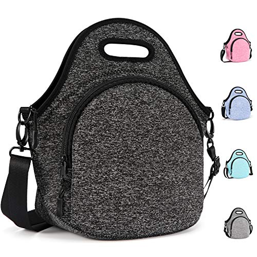 Gowraps Lunch Bags For Women, Men Kids Neoprene Lunch Tote Bags With Adjustable Detachable Shoulder Straps Reusable Soft Insulated Lunch Bags For School/Picnic/Work(Black)