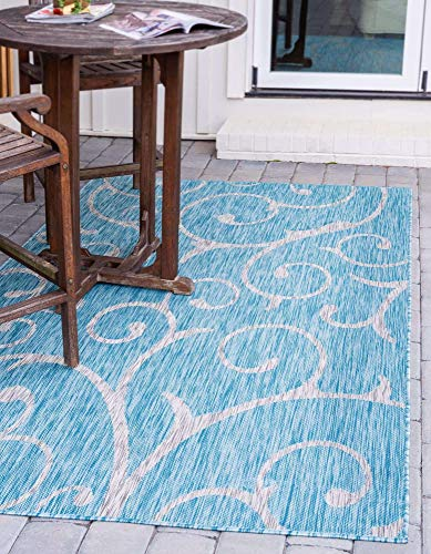 Unique Loom Outdoor Botanical Collection Vine Floral Transitional Indoor and Outdoor Flatweave Light Aqua Area Rug (9