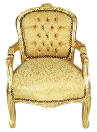 Casa Padrino Barock Kinder Stuhl Gold Muster/Gold - Armlehnstuhl - Antik Stil Möbel