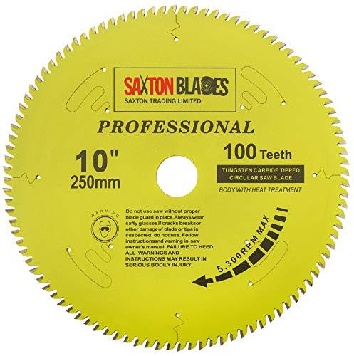 TCT250100TPRO Saxton Professional Range TCT - Hoja para sierra circular (250 mm x 100 T x 30 mm, anillos de reducción de 16, 20 y 25 mm) compatible con Bosch Makita Dewalt, etc.