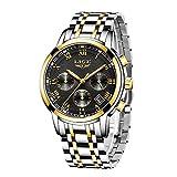 LIGE Hombres Moda Impermeable Cronógrafo Analogicos Cuarzo Relojes con Acero Inoxidable Negro Reloj para Hombre