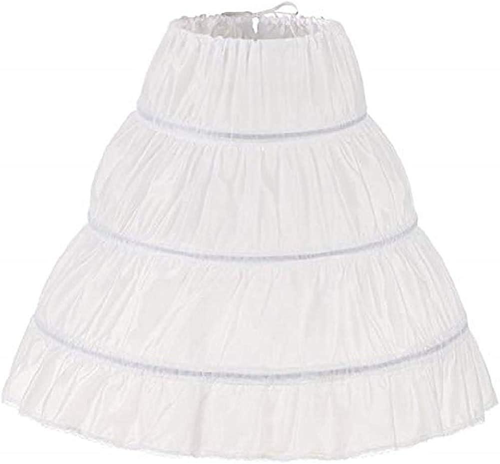 Kumeng Girls' 3 Hoops Petticoat Full Slip Flower Girl Crinoline Skirt