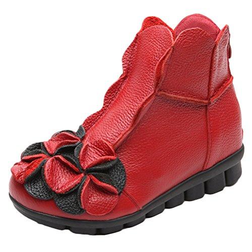 Vogstyle Damen Neu Beiläufig Blumen Lederstiefel Handgefertigt Kurze Boots Rot Art 1 EU 40=Asian 41
