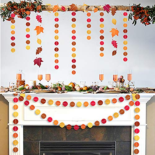 Fall Leaves Yellow Orange Circle Dots Paper Streamers Garlands(3Pcs 157 inches) for Fall Birthday Party, Hanging Bunting Banner Backdrop Decorations for Autumn Party Supplies