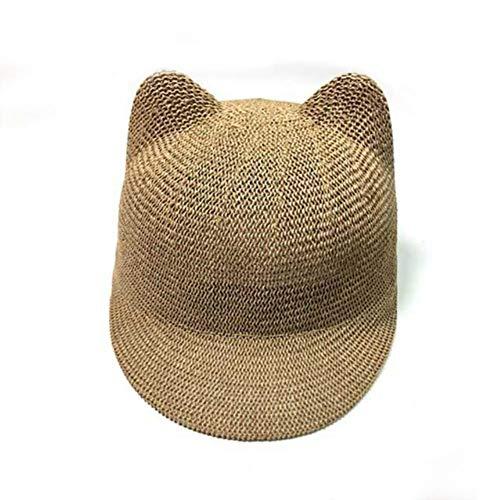 UKKD Strohhut Stroh-Cap Für Jungen-Mädchen-Fest Sommer-Baby-Sonnenhut Atmungsaktiv Mit Ohren Beach Kids-Hut-Kinder Baseballmütze,EIN,48-52Cm